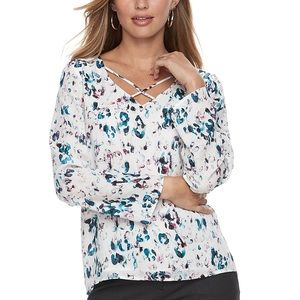 Apt 9 abstract leopard criss criss blouse blue med